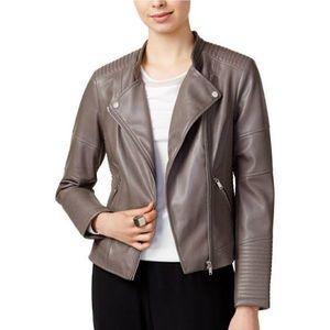 Bar III Grey Faux Leather Jacket